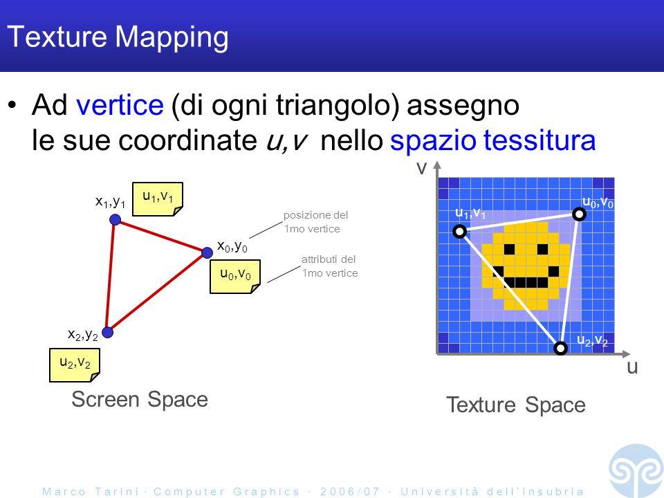 M a r c o T a r i n i C o m p u t e r G r a p h i c s 2 0 0 6 / 0 7 U n i v e r s i t à d e l l I n s u b r i a Texture Mapping Ad vertice (di ogni triangolo) assegno le sue coordinate u,v nello spazio tessitura Screen Space x 0,y 0 x 2,y 2 x 1,y 1 u 0,v 0 u 1,v 1 u 2,v 2 posizione del 1mo vertice attributi del 1mo vertice u 0,v 0 u 1,v 1 u 2,v 2