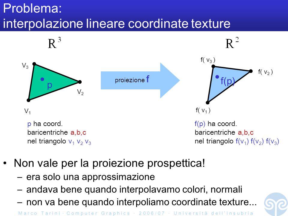 M a r c o T a r i n i C o m p u t e r G r a p h i c s 2 0 0 6 / 0 7 U n i v e r s i t à d e l l I n s u b r i a Problema: interpolazione lineare coordinate texture Non vale per la proiezione prospettica.