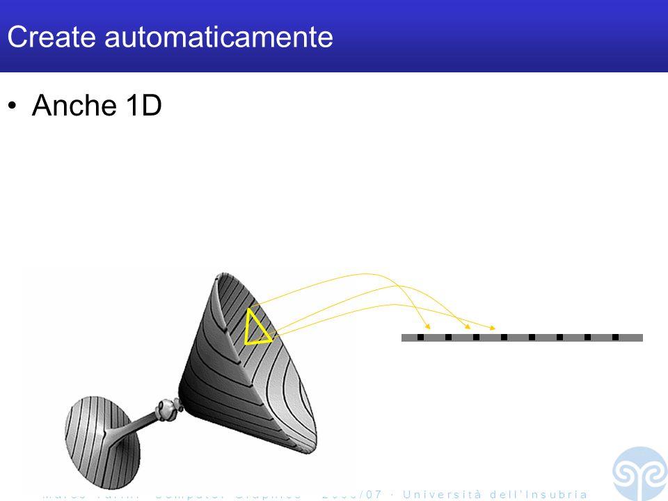 M a r c o T a r i n i C o m p u t e r G r a p h i c s 2 0 0 6 / 0 7 U n i v e r s i t à d e l l I n s u b r i a Create automaticamente Anche 1D 1D texture!