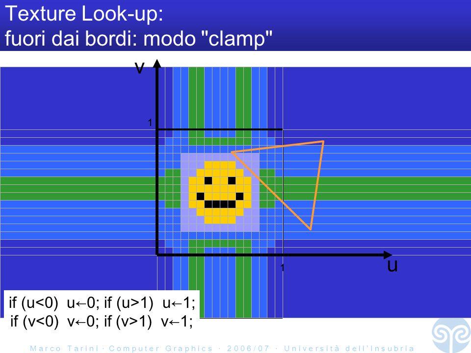 M a r c o T a r i n i C o m p u t e r G r a p h i c s 2 0 0 6 / 0 7 U n i v e r s i t à d e l l I n s u b r i a u Texture Look-up: fuori dai bordi: modo clamp if (u 1) u1; if (v 1) v1; 1 1 v