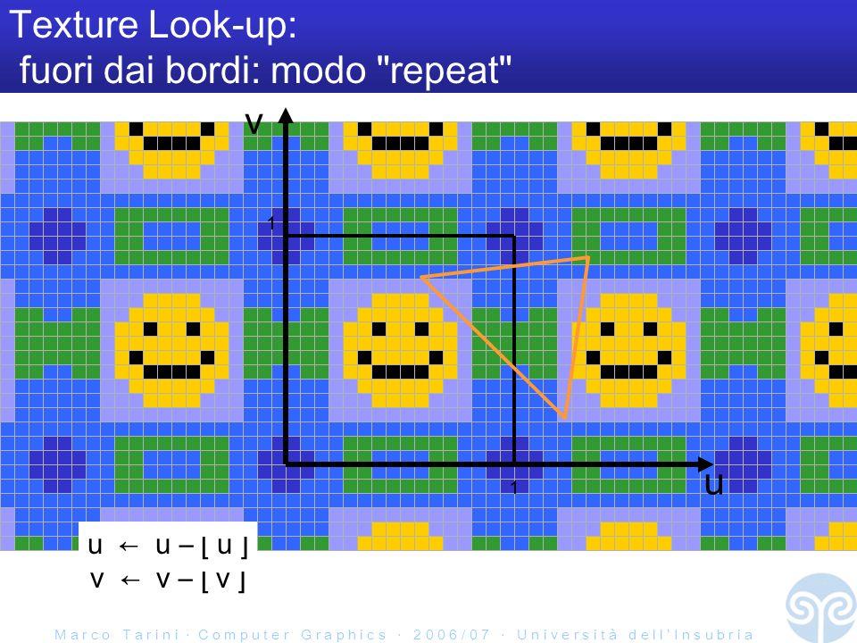 M a r c o T a r i n i C o m p u t e r G r a p h i c s 2 0 0 6 / 0 7 U n i v e r s i t à d e l l I n s u b r i a Texture Look-up: fuori dai bordi: modo repeat u v 1 1 u u – [ u ] v v – [ v ]