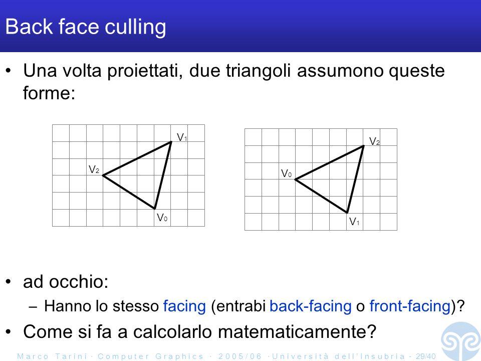 M a r c o T a r i n i C o m p u t e r G r a p h i c s 2 0 0 5 / 0 6 U n i v e r s i t à d e l l I n s u b r i a - 29/40 Back face culling Una volta proiettati, due triangoli assumono queste forme: ad occhio: –Hanno lo stesso facing (entrabi back-facing o front-facing).