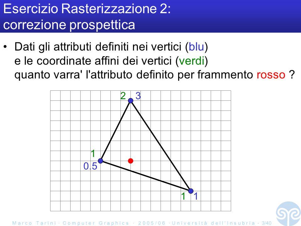 M a r c o T a r i n i C o m p u t e r G r a p h i c s 2 0 0 5 / 0 6 U n i v e r s i t à d e l l I n s u b r i a - 3/40 Esercizio Rasterizzazione 2: correzione prospettica Dati gli attributi definiti nei vertici (blu) e le coordinate affini dei vertici (verdi) quanto varra l attributo definito per frammento rosso .