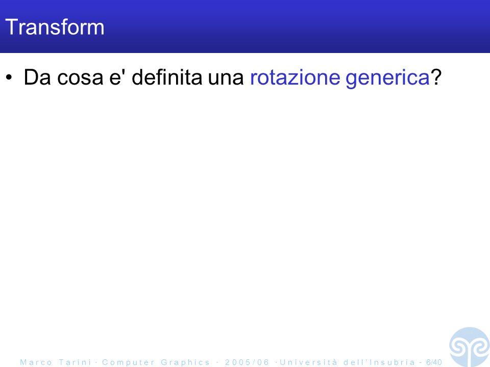 M a r c o T a r i n i C o m p u t e r G r a p h i c s 2 0 0 5 / 0 6 U n i v e r s i t à d e l l I n s u b r i a - 6/40 Transform Da cosa e definita una rotazione generica