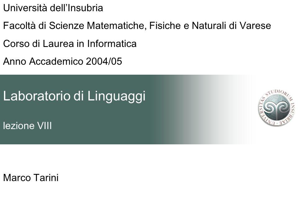 Laboratorio di Linguaggi lezione VIII Marco Tarini Università dellInsubria Facoltà di Scienze Matematiche, Fisiche e Naturali di Varese Corso di Laurea in Informatica Anno Accademico 2004/05