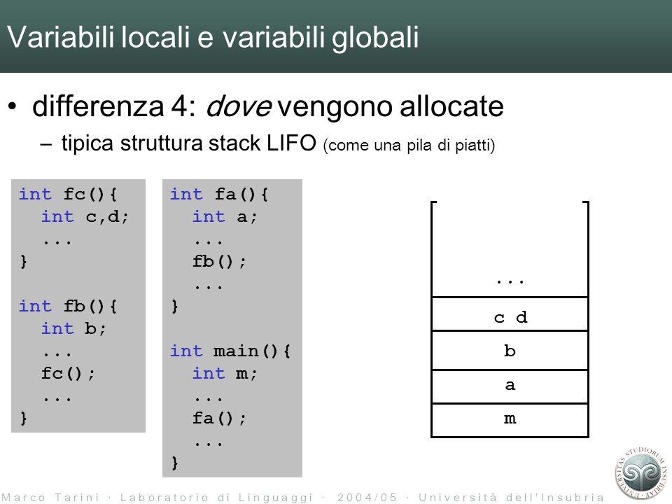 M a r c o T a r i n i L a b o r a t o r i o d i L i n g u a g g i 2 0 0 4 / 0 5 U n i v e r s i t à d e l l I n s u b r i a Variabili locali e variabili globali differenza 4: dove vengono allocate –tipica struttura stack LIFO (come una pila di piatti) int fa(){ int a;...