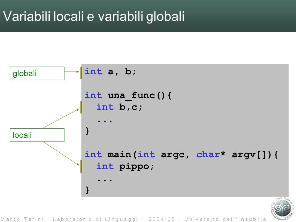 M a r c o T a r i n i L a b o r a t o r i o d i L i n g u a g g i 2 0 0 4 / 0 5 U n i v e r s i t à d e l l I n s u b r i a Variabili locali e variabili globali differenza 1: lo scoping int a, b; int una_func(){ int b,c;...