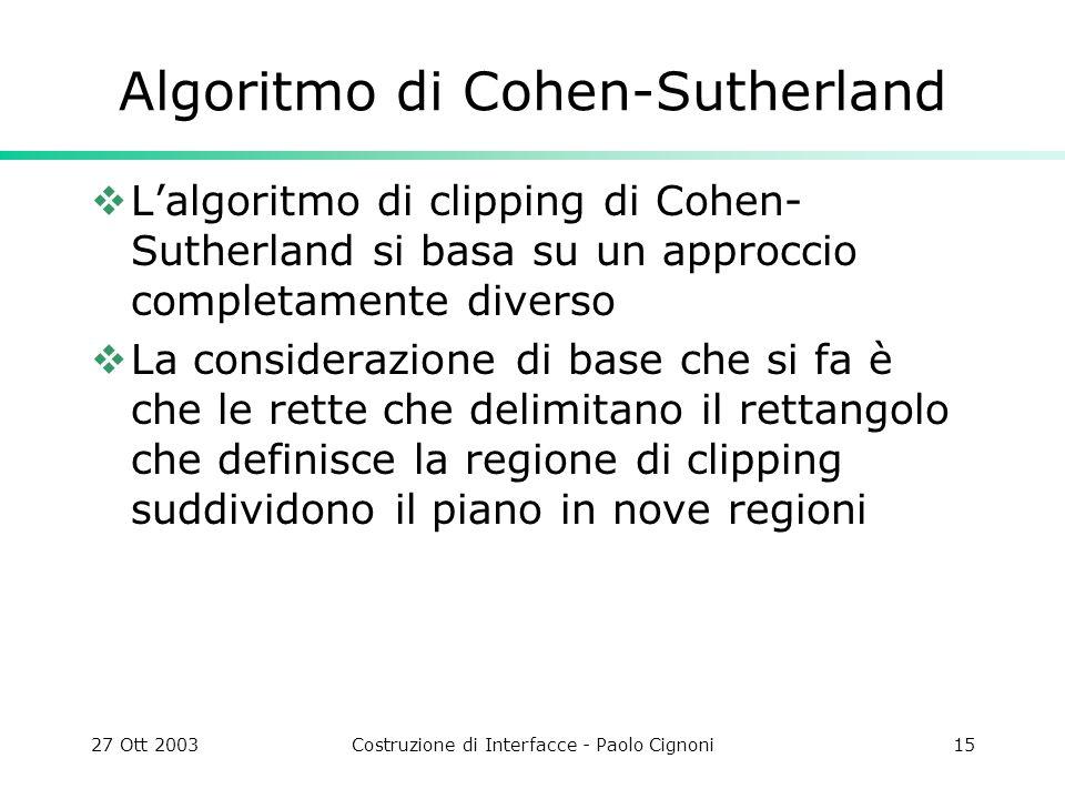 27 Ott 2003Costruzione di Interfacce - Paolo Cignoni15 Algoritmo di Cohen-Sutherland Lalgoritmo di clipping di Cohen- Sutherland si basa su un approccio completamente diverso La considerazione di base che si fa è che le rette che delimitano il rettangolo che definisce la regione di clipping suddividono il piano in nove regioni