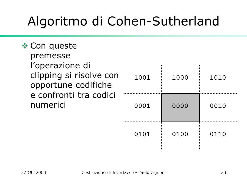 27 Ott 2003Costruzione di Interfacce - Paolo Cignoni23 1010 0010 011001000101 0001 10011000 0000 Algoritmo di Cohen-Sutherland Con queste premesse lop
