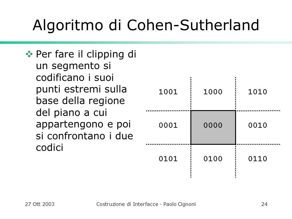 27 Ott 2003Costruzione di Interfacce - Paolo Cignoni24 1010 0010 011001000101 0001 10011000 0000 Algoritmo di Cohen-Sutherland Per fare il clipping di un segmento si codificano i suoi punti estremi sulla base della regione del piano a cui appartengono e poi si confrontano i due codici