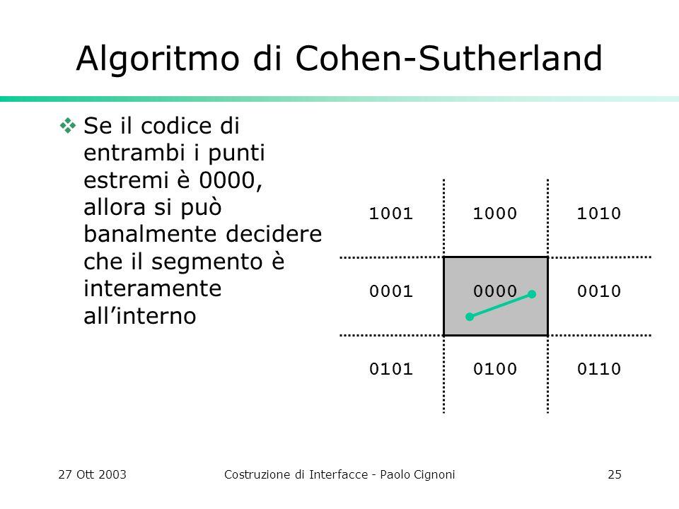 27 Ott 2003Costruzione di Interfacce - Paolo Cignoni25 1010 0010 011001000101 0001 10011000 0000 Algoritmo di Cohen-Sutherland Se il codice di entrambi i punti estremi è 0000, allora si può banalmente decidere che il segmento è interamente allinterno