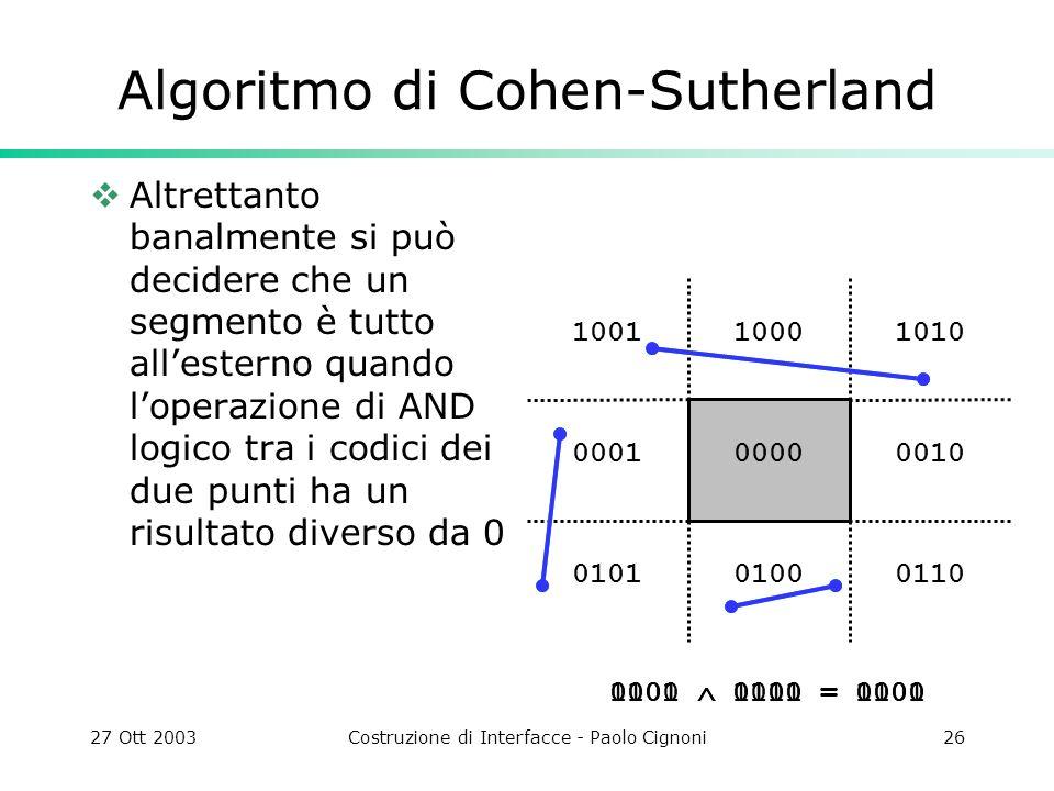 27 Ott 2003Costruzione di Interfacce - Paolo Cignoni26 1010 0010 011001000101 0001 10011000 0000 Algoritmo di Cohen-Sutherland Altrettanto banalmente