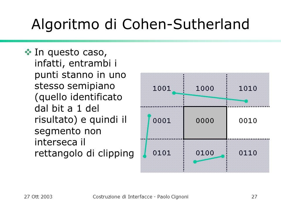 27 Ott 2003Costruzione di Interfacce - Paolo Cignoni27 1010 0010 011001000101 0001 10011000 0000 Algoritmo di Cohen-Sutherland In questo caso, infatti, entrambi i punti stanno in uno stesso semipiano (quello identificato dal bit a 1 del risultato) e quindi il segmento non interseca il rettangolo di clipping