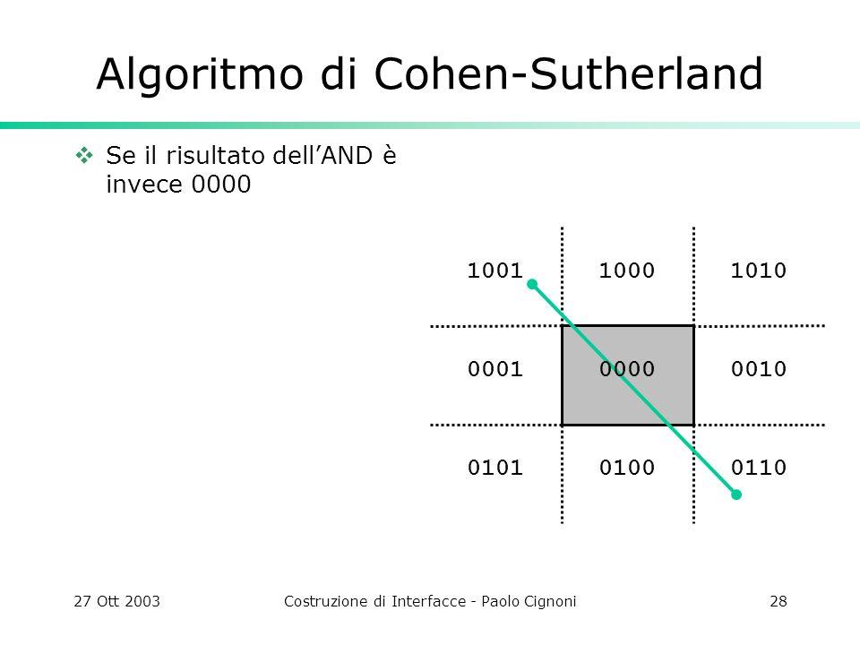 27 Ott 2003Costruzione di Interfacce - Paolo Cignoni28 1010 0010 011001000101 0001 10011000 Algoritmo di Cohen-Sutherland Se il risultato dellAND è in