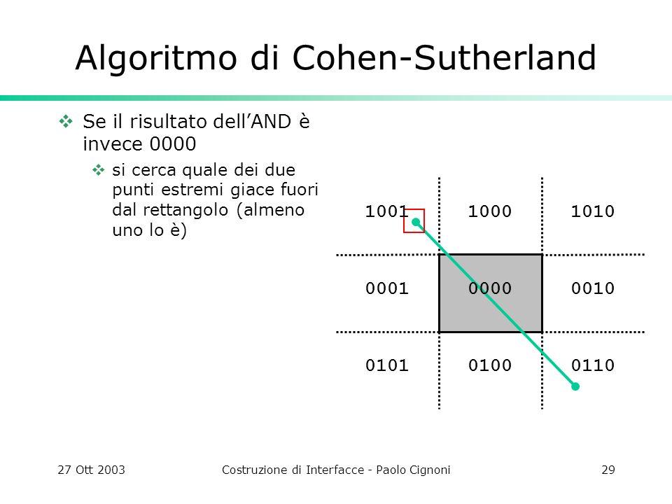 27 Ott 2003Costruzione di Interfacce - Paolo Cignoni29 1010 0010 011001000101 0001 1000 Algoritmo di Cohen-Sutherland Se il risultato dellAND è invece 0000 si cerca quale dei due punti estremi giace fuori dal rettangolo (almeno uno lo è) 0000 1001