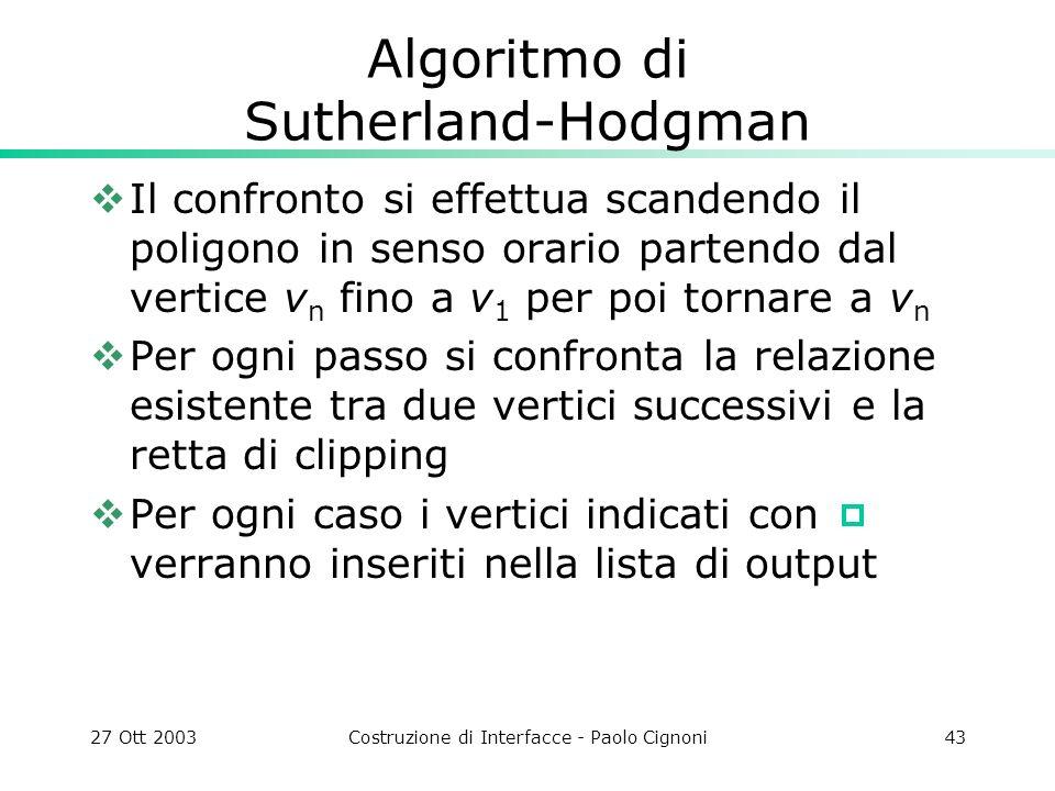 27 Ott 2003Costruzione di Interfacce - Paolo Cignoni43 Algoritmo di Sutherland-Hodgman Il confronto si effettua scandendo il poligono in senso orario