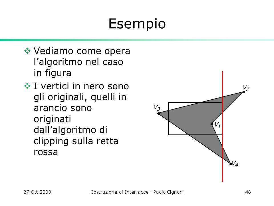 27 Ott 2003Costruzione di Interfacce - Paolo Cignoni48 Esempio Vediamo come opera lalgoritmo nel caso in figura I vertici in nero sono gli originali,