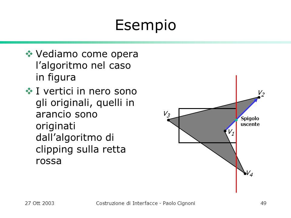27 Ott 2003Costruzione di Interfacce - Paolo Cignoni49 Esempio Vediamo come opera lalgoritmo nel caso in figura I vertici in nero sono gli originali, quelli in arancio sono originati dallalgoritmo di clipping sulla retta rossa v4v4 v3v3 v2v2 v1v1 Spigolo uscente