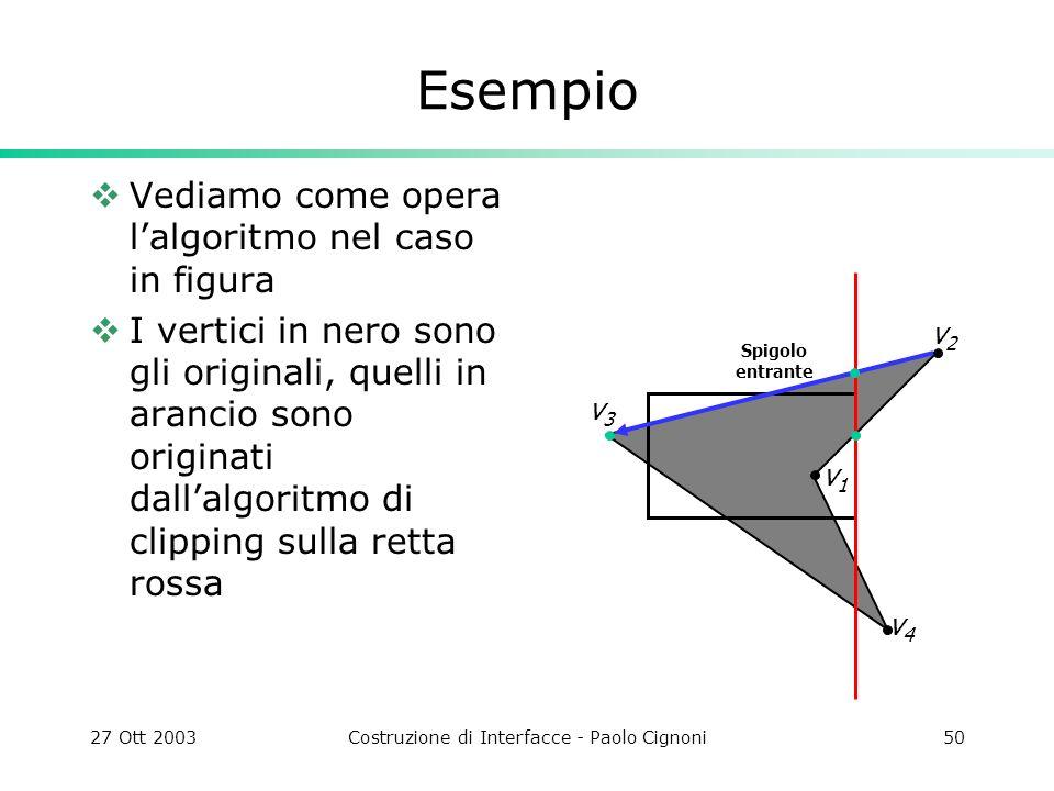 27 Ott 2003Costruzione di Interfacce - Paolo Cignoni50 Esempio Vediamo come opera lalgoritmo nel caso in figura I vertici in nero sono gli originali, quelli in arancio sono originati dallalgoritmo di clipping sulla retta rossa v2v2 Spigolo entrante v4v4 v3v3 v1v1
