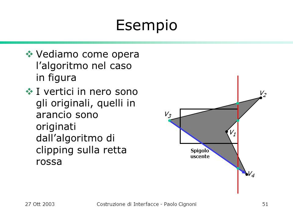 27 Ott 2003Costruzione di Interfacce - Paolo Cignoni51 Esempio Vediamo come opera lalgoritmo nel caso in figura I vertici in nero sono gli originali, quelli in arancio sono originati dallalgoritmo di clipping sulla retta rossa v2v2 Spigolo uscente v4v4 v3v3 v1v1