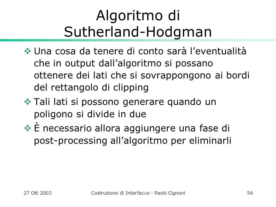 27 Ott 2003Costruzione di Interfacce - Paolo Cignoni54 Algoritmo di Sutherland-Hodgman Una cosa da tenere di conto sarà leventualità che in output dal
