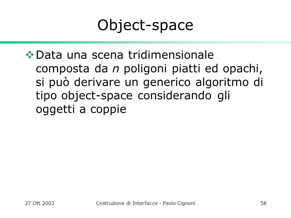 27 Ott 2003Costruzione di Interfacce - Paolo Cignoni58 Object-space Data una scena tridimensionale composta da n poligoni piatti ed opachi, si può derivare un generico algoritmo di tipo object-space considerando gli oggetti a coppie