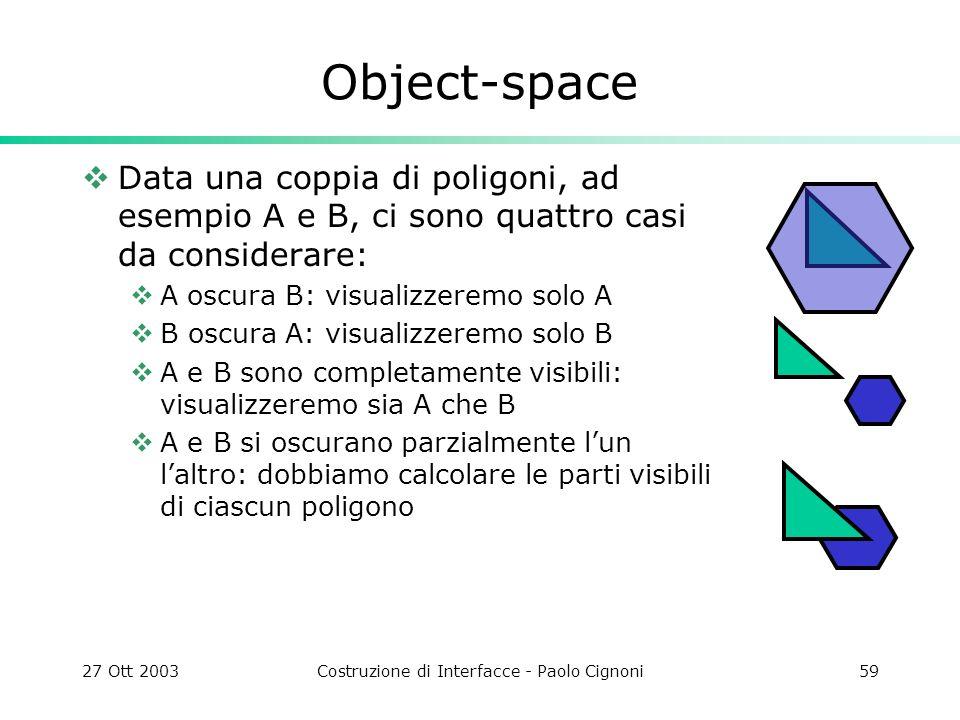 27 Ott 2003Costruzione di Interfacce - Paolo Cignoni59 Object-space Data una coppia di poligoni, ad esempio A e B, ci sono quattro casi da considerare: A oscura B: visualizzeremo solo A B oscura A: visualizzeremo solo B A e B sono completamente visibili: visualizzeremo sia A che B A e B si oscurano parzialmente lun laltro: dobbiamo calcolare le parti visibili di ciascun poligono