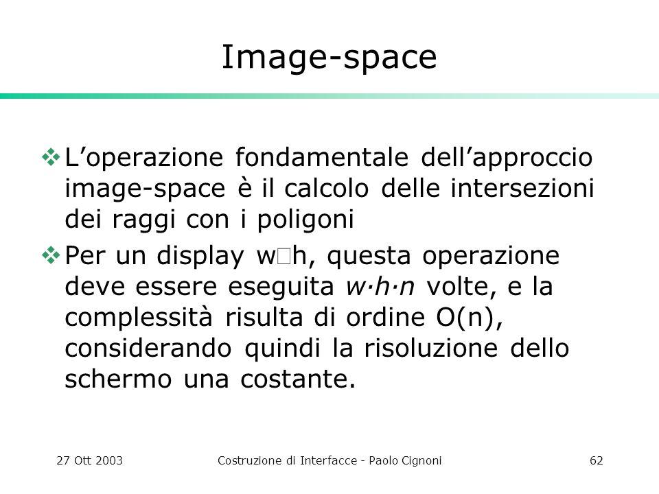27 Ott 2003Costruzione di Interfacce - Paolo Cignoni62 Image-space Loperazione fondamentale dellapproccio image-space è il calcolo delle intersezioni dei raggi con i poligoni Per un display wh, questa operazione deve essere eseguita w·h·n volte, e la complessità risulta di ordine O(n), considerando quindi la risoluzione dello schermo una costante.