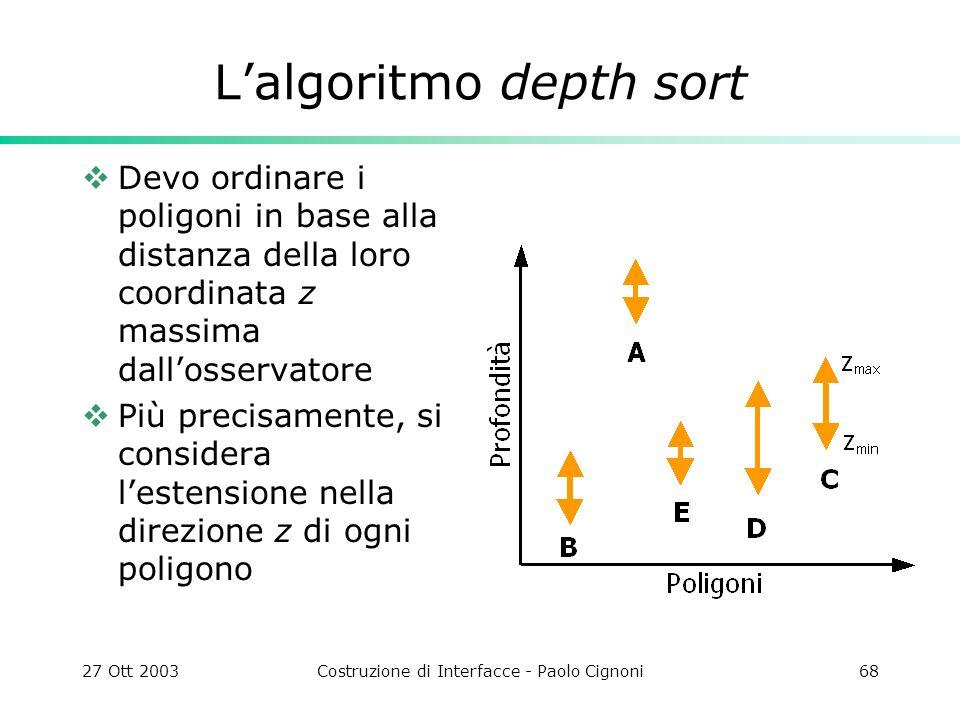 27 Ott 2003Costruzione di Interfacce - Paolo Cignoni68 Lalgoritmo depth sort Devo ordinare i poligoni in base alla distanza della loro coordinata z ma
