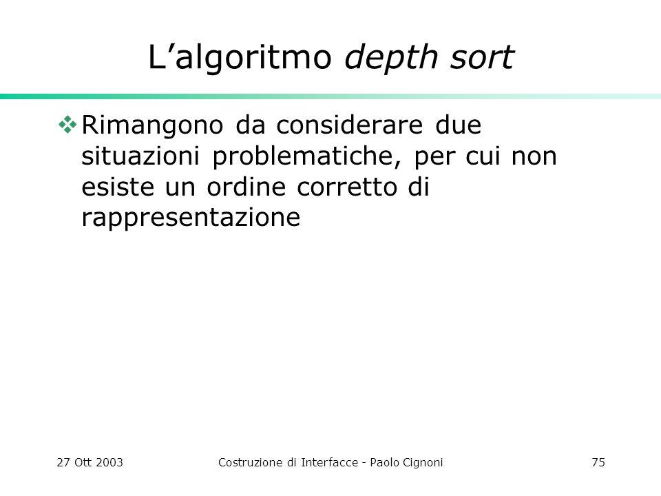 27 Ott 2003Costruzione di Interfacce - Paolo Cignoni75 Lalgoritmo depth sort Rimangono da considerare due situazioni problematiche, per cui non esiste un ordine corretto di rappresentazione
