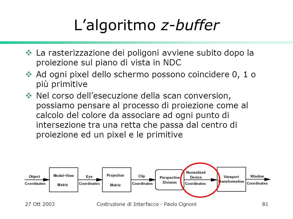 27 Ott 2003Costruzione di Interfacce - Paolo Cignoni81 Lalgoritmo z-buffer La rasterizzazione dei poligoni avviene subito dopo la proiezione sul piano