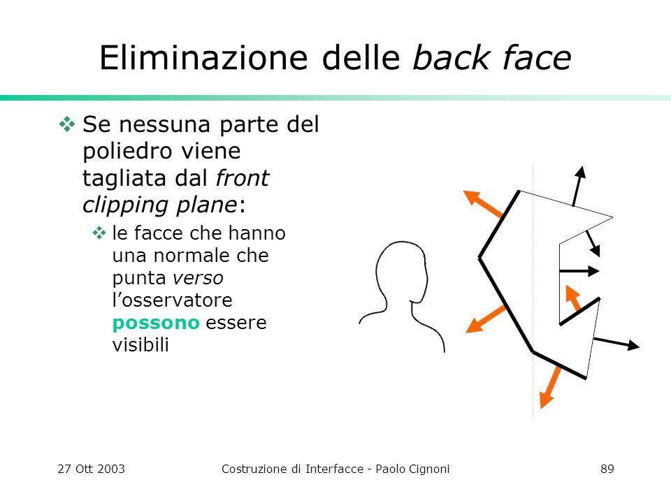 27 Ott 2003Costruzione di Interfacce - Paolo Cignoni89 Eliminazione delle back face Se nessuna parte del poliedro viene tagliata dal front clipping plane: le facce che hanno una normale che punta verso losservatore possono essere visibili