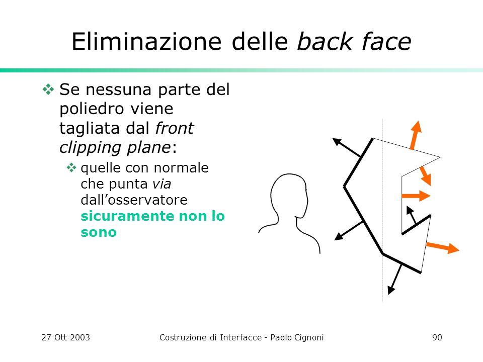 27 Ott 2003Costruzione di Interfacce - Paolo Cignoni90 Eliminazione delle back face Se nessuna parte del poliedro viene tagliata dal front clipping plane: quelle con normale che punta via dallosservatore sicuramente non lo sono