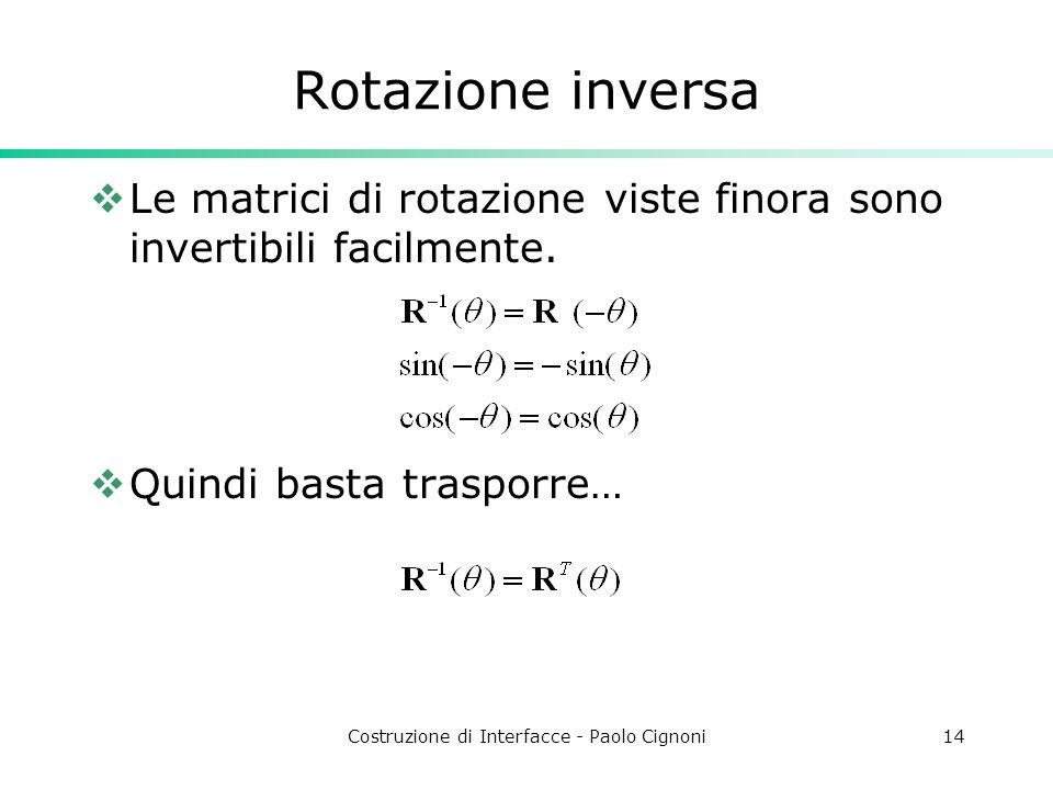 Costruzione di Interfacce - Paolo Cignoni14 Rotazione inversa Le matrici di rotazione viste finora sono invertibili facilmente. Quindi basta trasporre