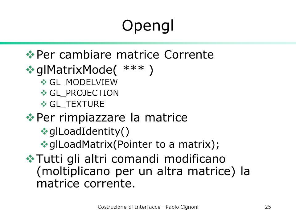 Costruzione di Interfacce - Paolo Cignoni25 Opengl Per cambiare matrice Corrente glMatrixMode( *** ) GL_MODELVIEW GL_PROJECTION GL_TEXTURE Per rimpiazzare la matrice glLoadIdentity() glLoadMatrix(Pointer to a matrix); Tutti gli altri comandi modificano (moltiplicano per un altra matrice) la matrice corrente.