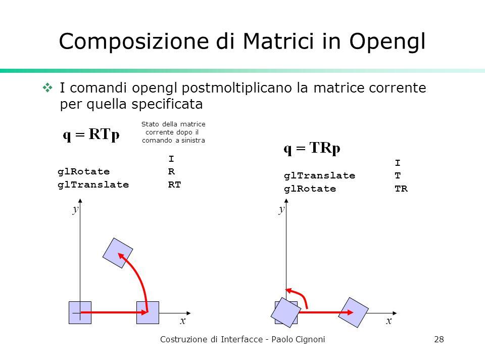 Costruzione di Interfacce - Paolo Cignoni28 Composizione di Matrici in Opengl I comandi opengl postmoltiplicano la matrice corrente per quella specificata x y x y I glRotate R glTranslate RT Stato della matrice corrente dopo il comando a sinistra I glTranslate T glRotate TR