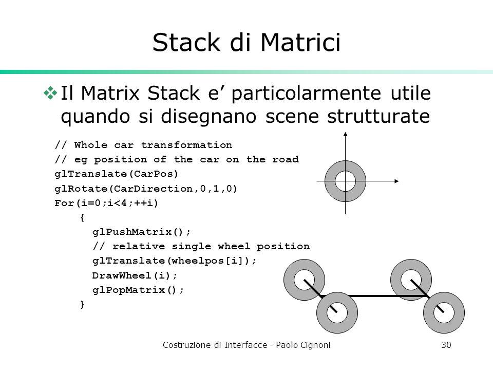 Costruzione di Interfacce - Paolo Cignoni30 Stack di Matrici Il Matrix Stack e particolarmente utile quando si disegnano scene strutturate // Whole car transformation // eg position of the car on the road glTranslate(CarPos) glRotate(CarDirection,0,1,0) For(i=0;i<4;++i) { glPushMatrix(); // relative single wheel position glTranslate(wheelpos[i]); DrawWheel(i); glPopMatrix(); }