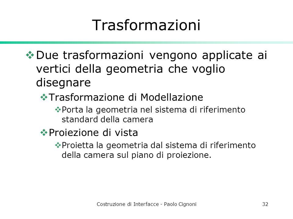 Costruzione di Interfacce - Paolo Cignoni32 Trasformazioni Due trasformazioni vengono applicate ai vertici della geometria che voglio disegnare Trasfo