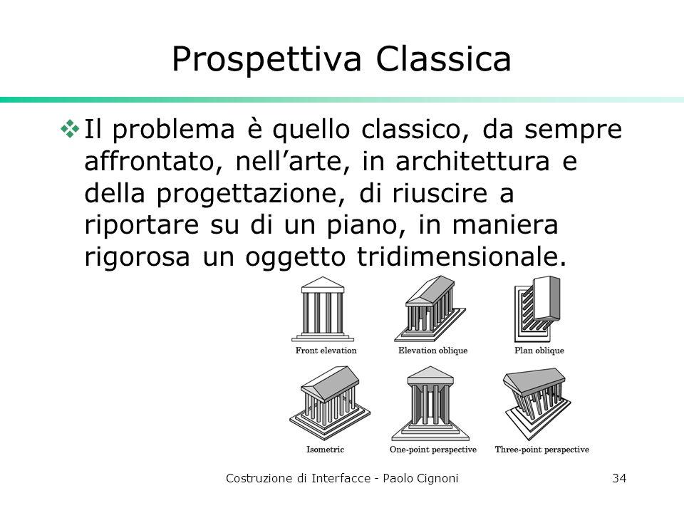 Costruzione di Interfacce - Paolo Cignoni34 Prospettiva Classica Il problema è quello classico, da sempre affrontato, nellarte, in architettura e della progettazione, di riuscire a riportare su di un piano, in maniera rigorosa un oggetto tridimensionale.