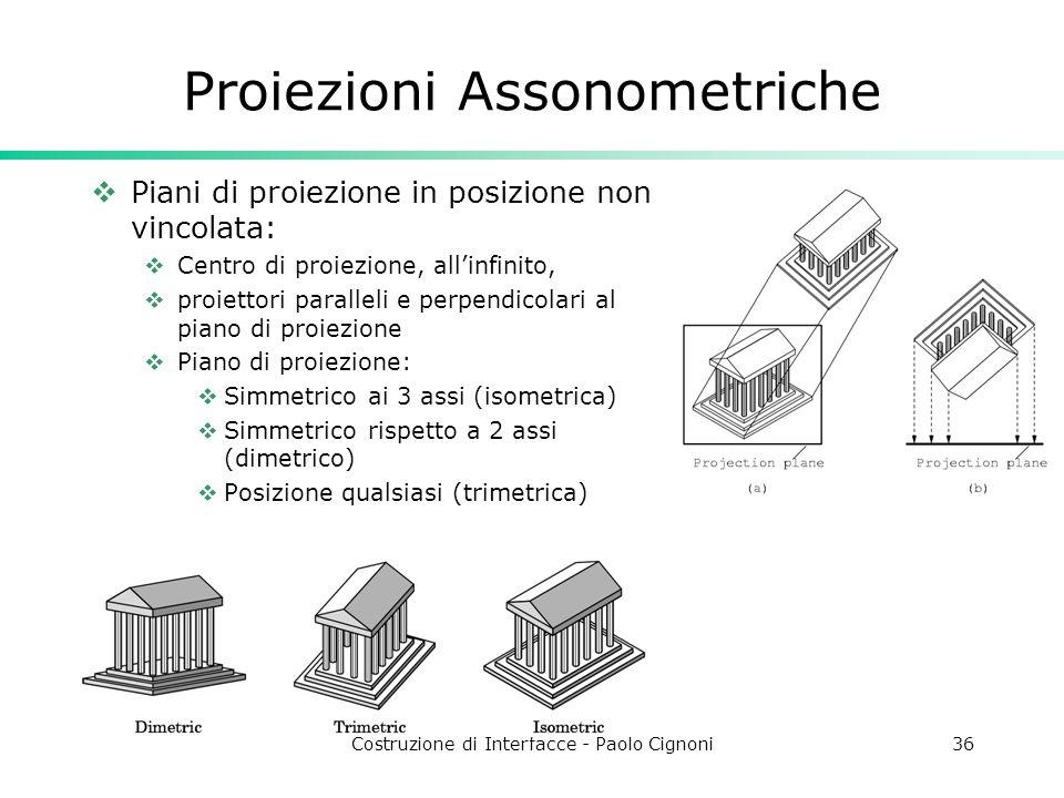 Costruzione di Interfacce - Paolo Cignoni36 Proiezioni Assonometriche Piani di proiezione in posizione non vincolata: Centro di proiezione, allinfinito, proiettori paralleli e perpendicolari al piano di proiezione Piano di proiezione: Simmetrico ai 3 assi (isometrica) Simmetrico rispetto a 2 assi (dimetrico) Posizione qualsiasi (trimetrica)