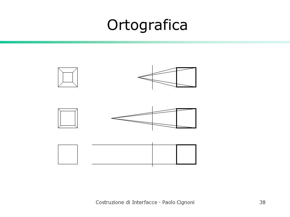 Costruzione di Interfacce - Paolo Cignoni38 Ortografica
