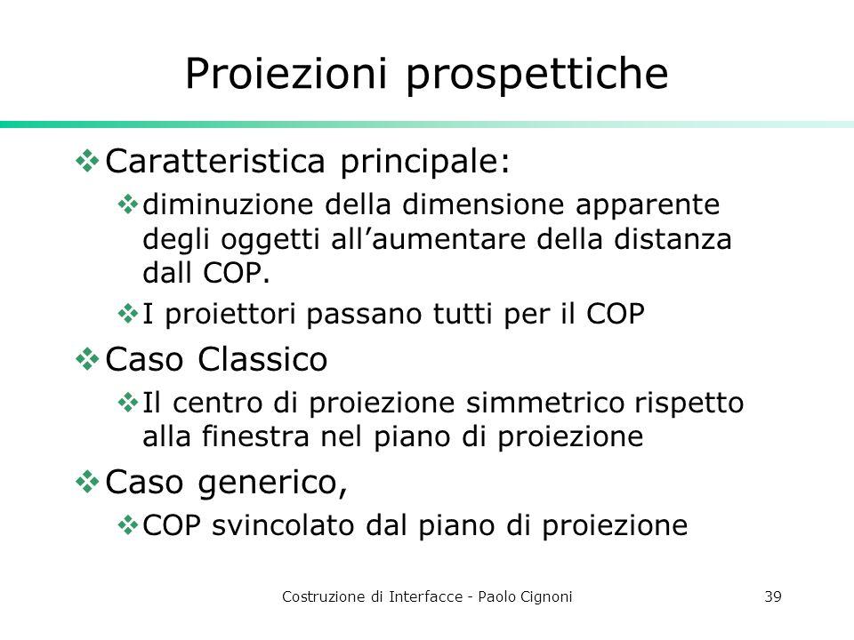 Costruzione di Interfacce - Paolo Cignoni39 Proiezioni prospettiche Caratteristica principale: diminuzione della dimensione apparente degli oggetti allaumentare della distanza dall COP.