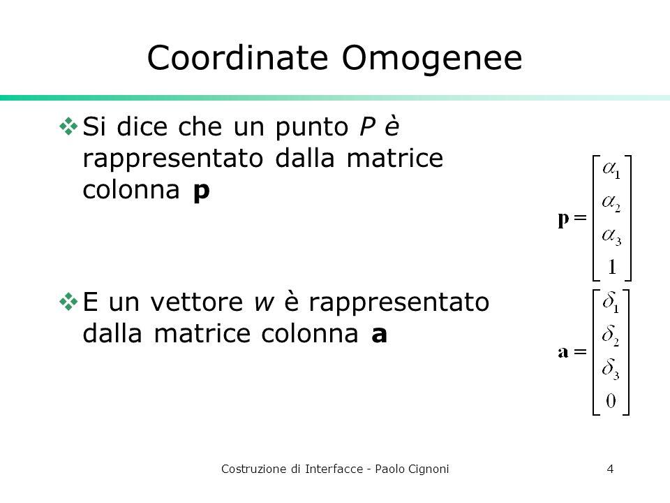 Costruzione di Interfacce - Paolo Cignoni4 Coordinate Omogenee Si dice che un punto P è rappresentato dalla matrice colonna p E un vettore w è rappres