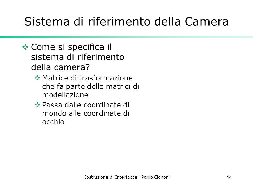 Costruzione di Interfacce - Paolo Cignoni44 Sistema di riferimento della Camera Come si specifica il sistema di riferimento della camera? Matrice di t