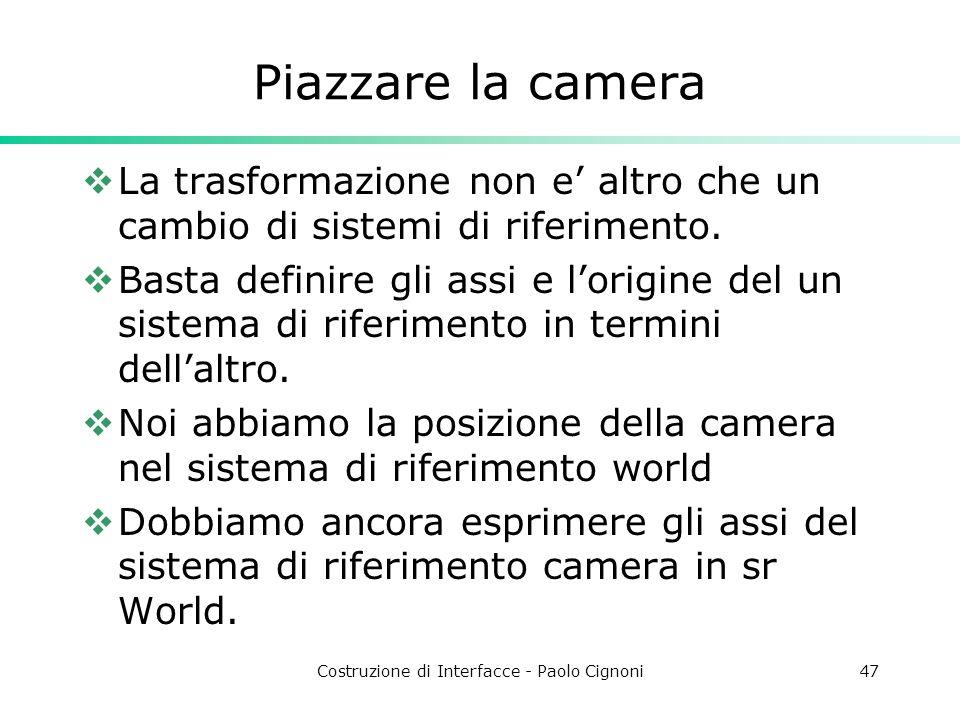Costruzione di Interfacce - Paolo Cignoni47 Piazzare la camera La trasformazione non e altro che un cambio di sistemi di riferimento.