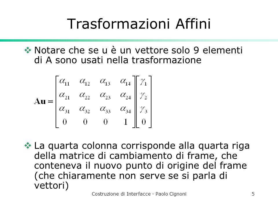 Costruzione di Interfacce - Paolo Cignoni5 Trasformazioni Affini Notare che se u è un vettore solo 9 elementi di A sono usati nella trasformazione La quarta colonna corrisponde alla quarta riga della matrice di cambiamento di frame, che conteneva il nuovo punto di origine del frame (che chiaramente non serve se si parla di vettori)