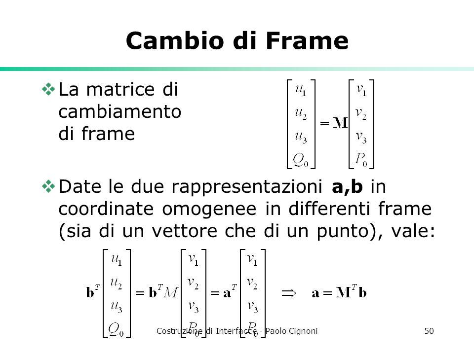 Costruzione di Interfacce - Paolo Cignoni50 Cambio di Frame La matrice di cambiamento di frame Date le due rappresentazioni a,b in coordinate omogenee in differenti frame (sia di un vettore che di un punto), vale: