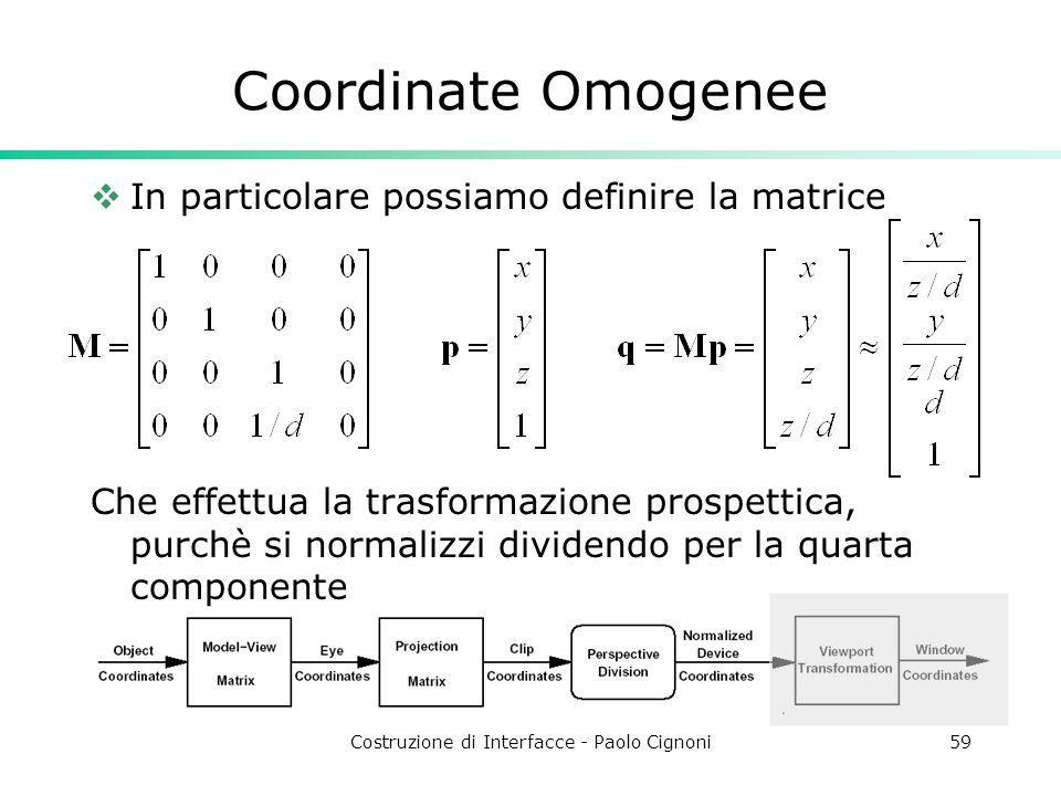 Costruzione di Interfacce - Paolo Cignoni59 Coordinate Omogenee In particolare possiamo definire la matrice Che effettua la trasformazione prospettica, purchè si normalizzi dividendo per la quarta componente