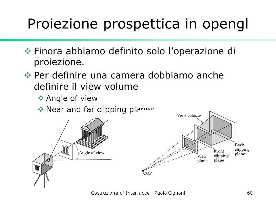 Costruzione di Interfacce - Paolo Cignoni60 Proiezione prospettica in opengl Finora abbiamo definito solo loperazione di proiezione. Per definire una