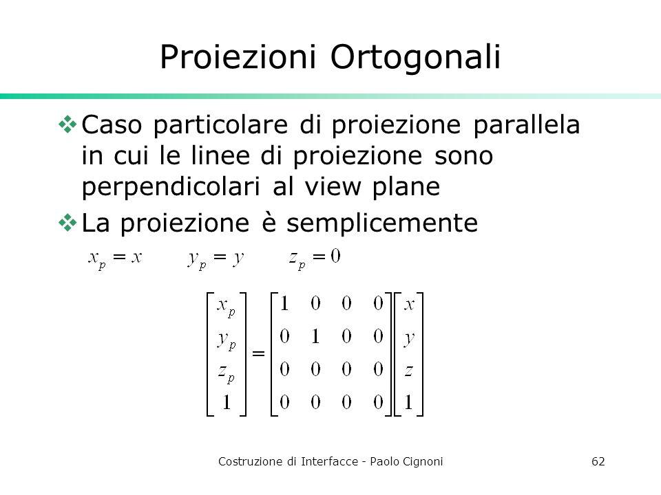 Costruzione di Interfacce - Paolo Cignoni62 Proiezioni Ortogonali Caso particolare di proiezione parallela in cui le linee di proiezione sono perpendicolari al view plane La proiezione è semplicemente